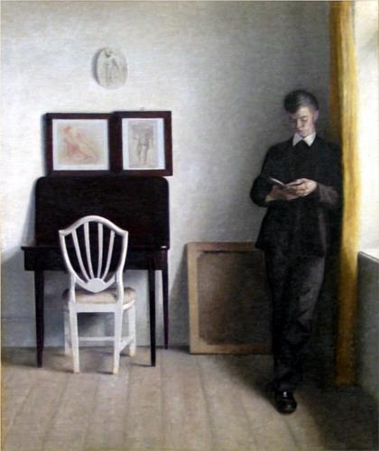 Vilhelm Hammershoi Interior with Young Man Reading 1898