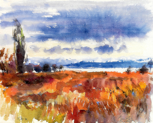 Andre Ficus Herbststimmung am Bodensee aquarelle
