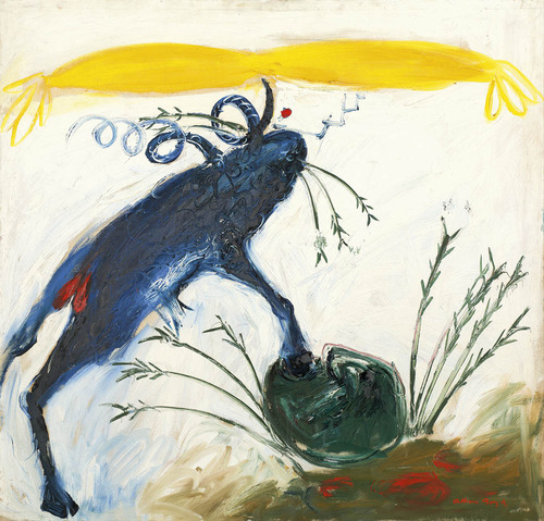 Arthur Boyd Blue Ram Balancing Nebuchadnezzar 1968 oil on canvas