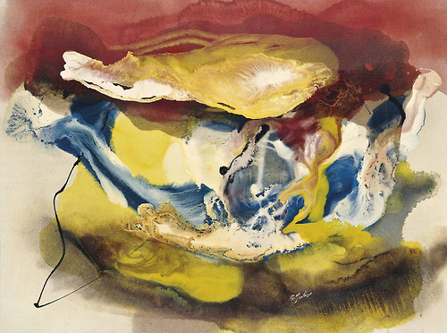 Paul Jenkins Eyes of the Dove colon Lucife Life 1959 oil on canvas