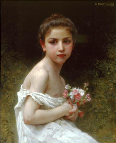 William-Adolphe Bouguereau Petite fille au bouquet 1896 oil on canvas