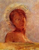 """Closed Eyes"" (1899, oil on paper)by Odilon Redon"