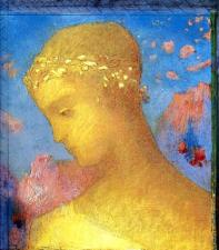 """Beatrice"" (1885, pastel on paper)by Odilon Redon"