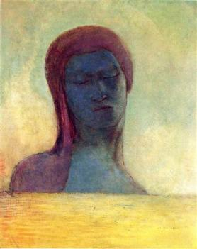 """""""Closed Eyes"""" (c1894, oil on panel)by Odilon Redon"""