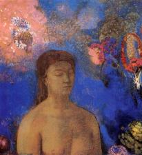 """Closed Eyes"" (c1895, pastel on paper)by Odilon Redon"