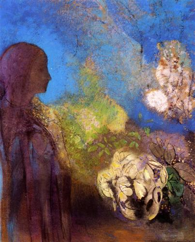 Odilon Redon GIrl with Chrysanthemums c1905 pastel on paper