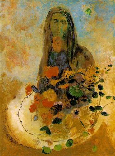"""Mystery"" (nd, oil on canvas)by Odilon Redon"