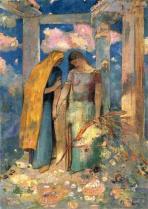 """Mystical Conversation"" (c1896, oil on canvas)by Odilon Redon"
