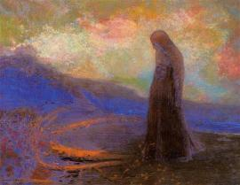 """Reflection"" (c1900-05, pastel on paper)by Odilon Redon"