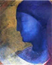 """""""The Golden Cell"""" (1892, Oil and metallic gold paint on paper prepared with white grind)by Odilon Redon"""