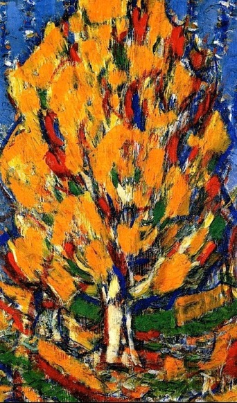"""Tree in Autumn"" (1917, tempera on canvas)by Christian Rohlfs"