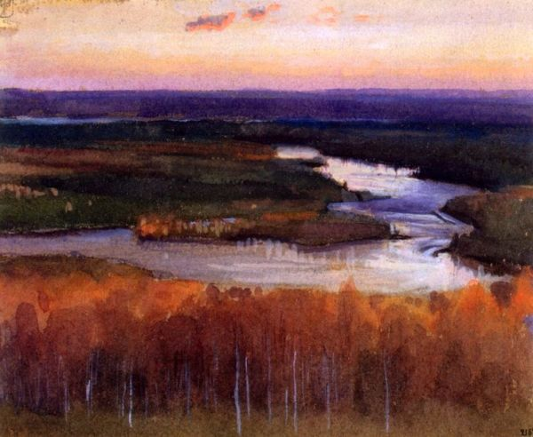 Eero Järnefelt Autumn Landscape with a River 1895 tempera on grey paper