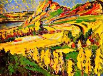 """Autumn in France"" (1911, oil on paperboard)by Emily Carr"