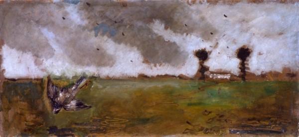 Filippo De Pisis  1933 Paesaggio con passero e casolare