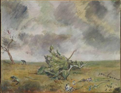Filippo de Pisis Foglia nella tempesta 1940 oil on canvas