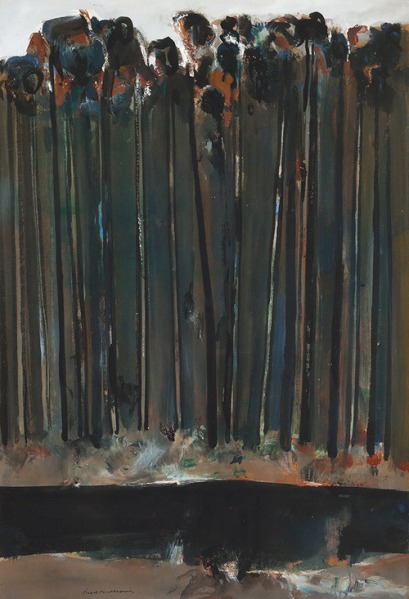 Fred Williams untitled c1958 gouache on paper on board