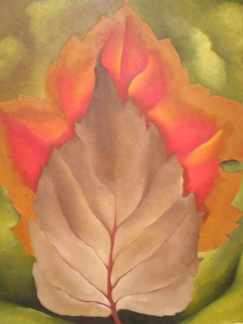 """Red and Brown Leaves"" (1925, oil on canvas)by Georgia O'Keeffe"
