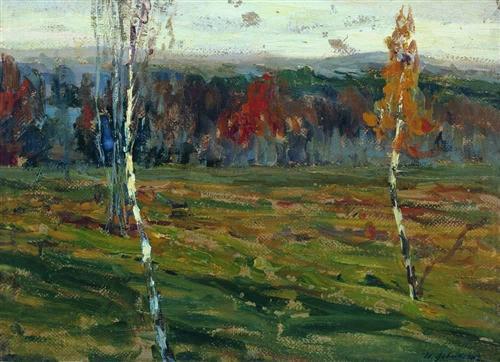 Isaac Levitan Autumn period Birches 1899 oil on cardboard