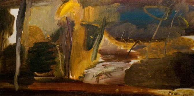 """Autumn Painting"" (1945, oil on canvas)by Ivon Hitchens"
