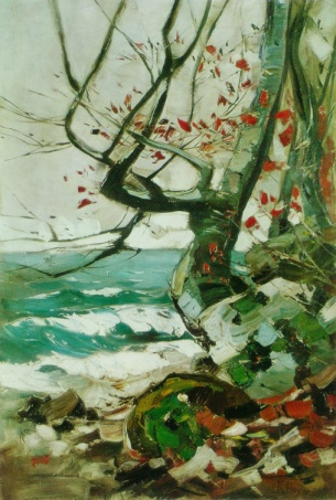 """""""Felsige Küste mit Buche"""" (1913, oil on canvas)"""