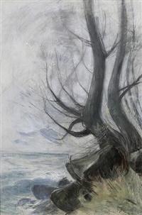 """Baum am Ostseeufer"" (nd, pastel on cardboard)"