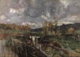 """""""Ein Steg an einem märkischen See"""" (1870, oil on canvas)"""