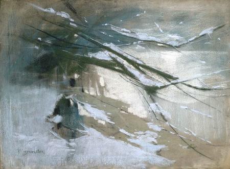 Karl Hagemeister Verschneites Gehölz am Ufer des Schwielowsees 1905 pastel on canvas