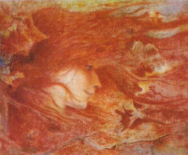 Lucien Lévy-Dhurmer La Bourrasque  The Gust of Wind pastel on paper 1897