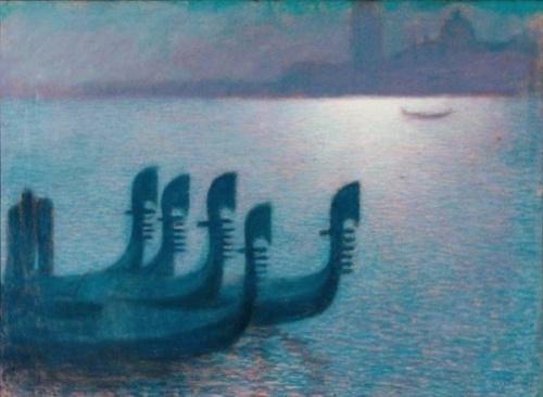 Lucien Levy-Dhurmer pastel on paperGondolas à Venise, sous un clair de lune