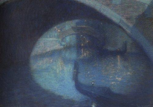 Lucien Levy-Dhurmer Scene in Venice oil on canvas