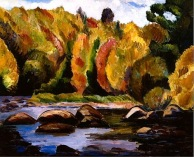 """Brilliant Autumn Landscape No. 28 (1930, oil)by Marsden Hartley"