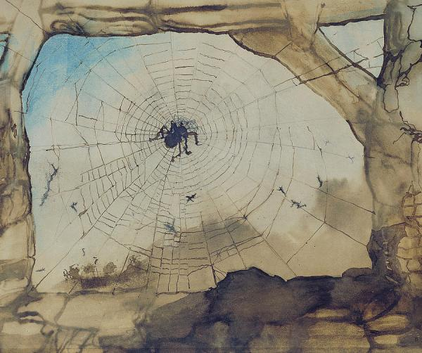 Victor Hugo Vianden Through a Spider's Web pencil, Indian ink, sepia on paper