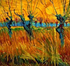 """Willows at Sunset"" (1888, oil on canvas board)by Vincent van Gogh"