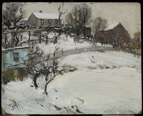 JEH MacDonald Winter Sketch 1912 oil on paperboard