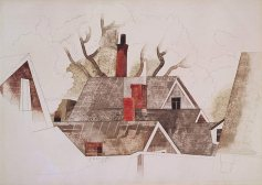 """Red Chimneys"" (1918, watercolor and graphite pencil)by Charles Demuth"