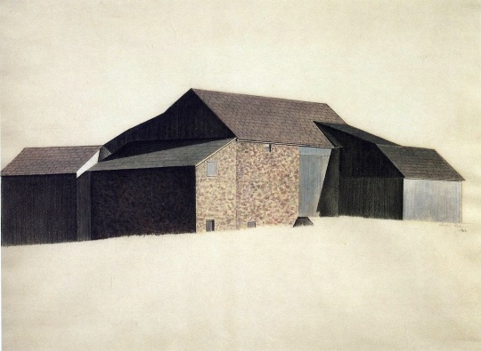 Charles Sheeler Bucks County Barn 1923 tempera and crayon on paper