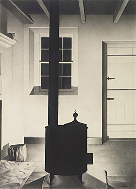 """Interior with Stove"" (1932, conté crayon on wove paper)by Charles Sheeler"