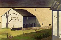 """Shaker Barn"" (1934, tempera on panel)by Charles Sheeler"