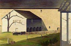 """Shaker Barn"" (1934, tempera on panel)by Charles Sheeler"