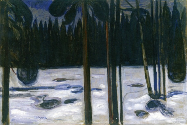 Edvard Munch Winter Forest 1900-01 oil on cardboard