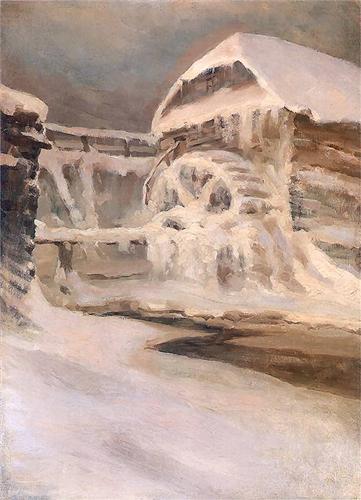 Ferdynand Ruszczyc Młyn zimą 1897