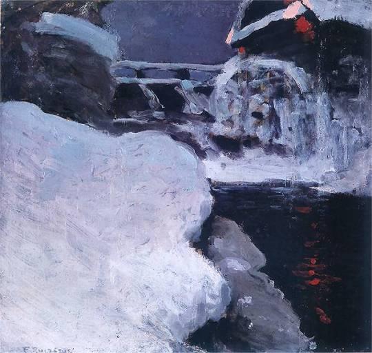 Ferdynand Ruszczyc Pejzaż ze stogami Ok 1897 oil on canvas