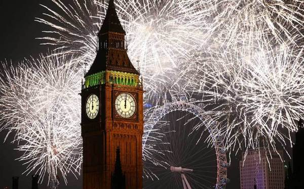 Fireworks around Big Ben and the London Eye Peter McDiarmid Getty 2014