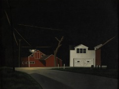 """Black Night at Russell's Corners"" (1943, oil on canvas)by George Ault"