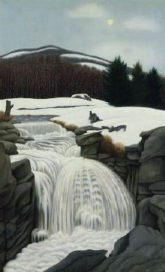 """Brook in the Mountains"" (1945, oil on canvas)by George Ault"