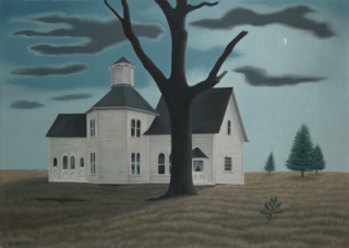 """Old House, New Moon"" (1943, oil on canvas)by George Ault"