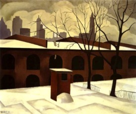 """View from Brooklyn"" (1927, oil on canvas)by George Ault"