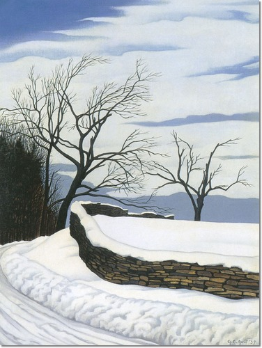 """""""Where the Road Turns"""" (1939, oil on canvas)by George Ault"""