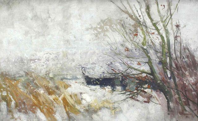 Karl Hagemeister Havelufer mit Kahn im Schneetreiben 1895 oil on canvas