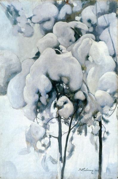 Pekka Halonen Lumisia Mannyntaimia Snowy Pine Seedlings 1899